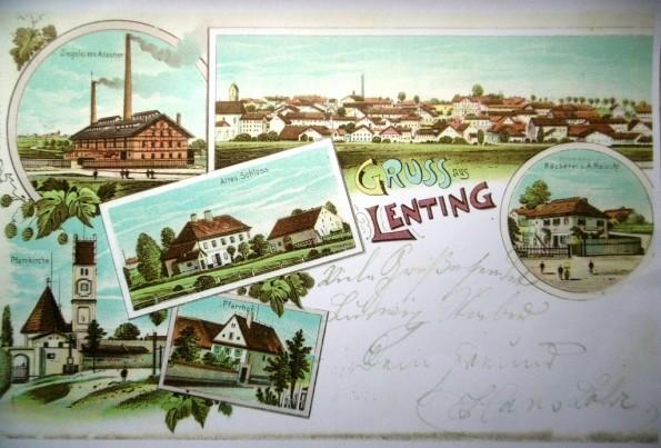 Gezeichnete Postkarte von Lenting um 1900. Foto: privat