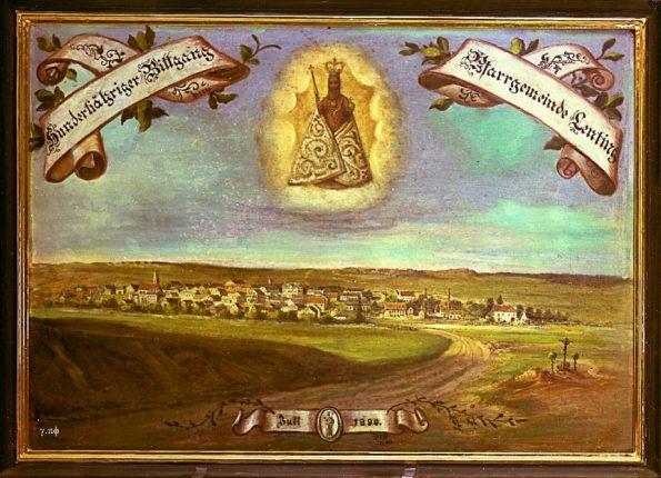 Juli 1890, Jubiläumswallfahrt der Pfarrei Lenting nach Bettbrunn. Blick von Süden auf Lenting.